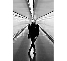 Woman in the metro corridor Photographic Print