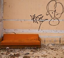 """Orange Sofa"" Krakow Poland by Peter Roberts"