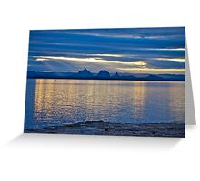Sunset reflections - Glasshouse Mountains Greeting Card
