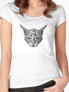 Ornate Blue Eyes Cat Women's Fitted Scoop T-Shirt