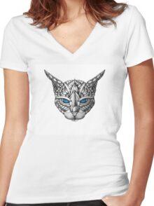 Ornate Blue Eyes Cat Women's Fitted V-Neck T-Shirt
