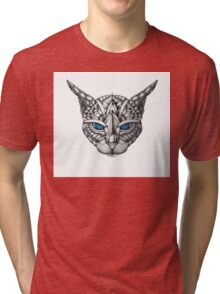 Ornate Blue Eyes Cat Tri-blend T-Shirt