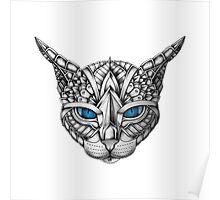 Ornate Blue Eyes Cat Poster