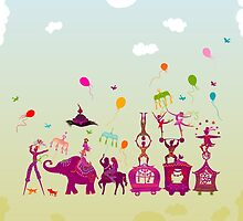 colorful circus carnival traveling in one row during daylight by nuanz