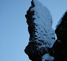 Moon over Snowy Rock by Drakael