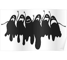 Funny derpy Halloween ghost with face palm Poster