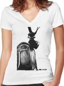 Piaggio Vespa GS front shield with logo black Women's Fitted V-Neck T-Shirt