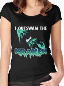I Outswam the Kraken -Cyan Women's Fitted Scoop T-Shirt