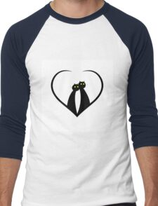 Silhouettes of two cats in love Men's Baseball ¾ T-Shirt