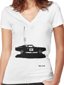 Valiant Charger Australian Muscle Car side view with power lines, 88 black Women's Fitted V-Neck T-Shirt