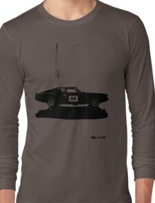 Valiant Charger Australian Muscle Car side view with power lines, 88 black Long Sleeve T-Shirt