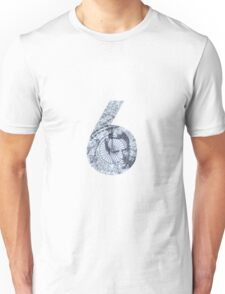 Number 6 - Blue Version. Unisex T-Shirt