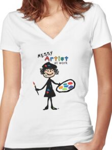 Messy Artist At Work (for light color clothing) Women's Fitted V-Neck T-Shirt
