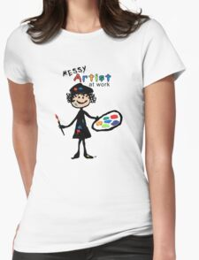 Messy Artist At Work (for light color clothing) Womens Fitted T-Shirt