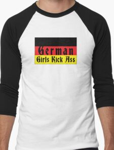 German Girls Kick Ass Men's Baseball ¾ T-Shirt