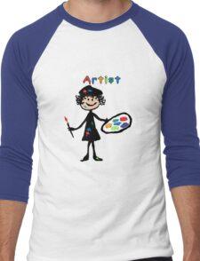 Messy Artist At Work (for dark clothing) Men's Baseball ¾ T-Shirt