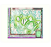Yahm  Lotus- Batik  Green Ultrasound Art Print