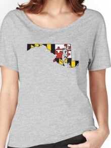 Maryland flag state outline  Women's Relaxed Fit T-Shirt