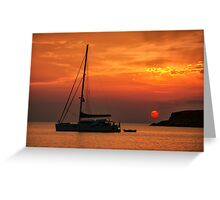 Silhouette of a sailing boat at sunset Greeting Card