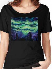 Aurora Borealis Watercolour Painting Women's Relaxed Fit T-Shirt