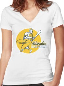 Retro Vintage Milwaukee Brewers Women's Fitted V-Neck T-Shirt