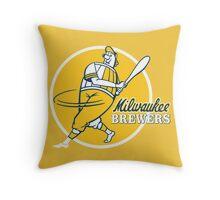 Retro Vintage Milwaukee Brewers Throw Pillow