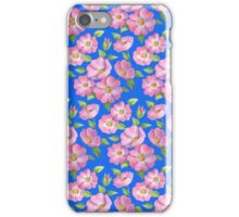 Watercolour wild rose on blue iPhone Case/Skin