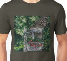 Cabin Landscape with Flowers: Watercolour Painting Unisex T-Shirt