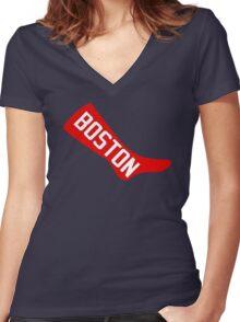 Boston Red Sox - Original 1908 Logo Women's Fitted V-Neck T-Shirt