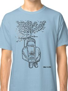 modified 1967 Piaggio Vespa back view with sports exhaust black Classic T-Shirt