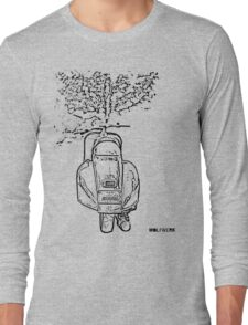 modified 1967 Piaggio Vespa back view with sports exhaust black Long Sleeve T-Shirt