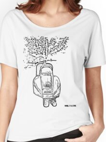 modified 1967 Piaggio Vespa back view with sports exhaust black Women's Relaxed Fit T-Shirt