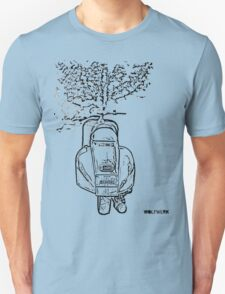 modified 1967 Piaggio Vespa back view with sports exhaust black T-Shirt