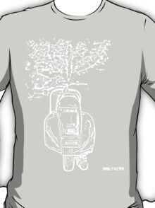 modified 1967 Piaggio Vespa back view with sports exhaust T-Shirt