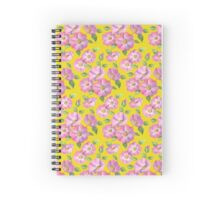 Watercolour wild roses on yellow Spiral Notebook