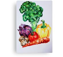 Vegetables Watercolour Artwork Canvas Print