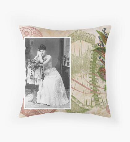 Steampunk Victorian Floral Corset Throw Pillow