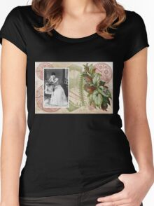 Steampunk Victorian Floral Corset Women's Fitted Scoop T-Shirt
