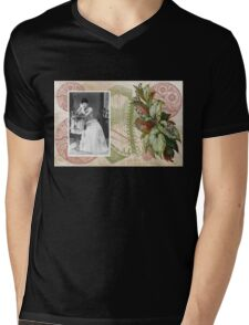 Steampunk Victorian Floral Corset Mens V-Neck T-Shirt