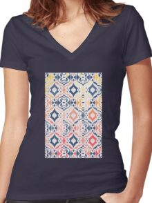 Tropical Ikat Damask Women's Fitted V-Neck T-Shirt