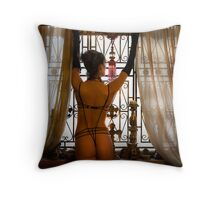 A Lady at Her Window Throw Pillow