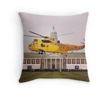 Sea King over College Hall Throw Pillow