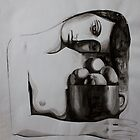 Woman with oranges, ink on paper, 1998 by fiona vermeeren