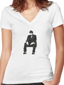 Sitting on hard times  Women's Fitted V-Neck T-Shirt