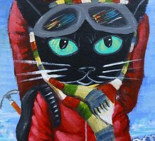 Everest Mountain Climber Nepal Prayer Black Cat by MuertoCupcake