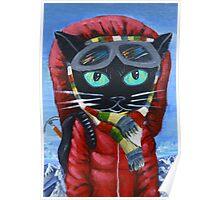 Everest Mountain Climber Nepal Prayer Black Cat Poster