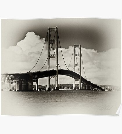 Mackinac Bridge with Clouds Poster