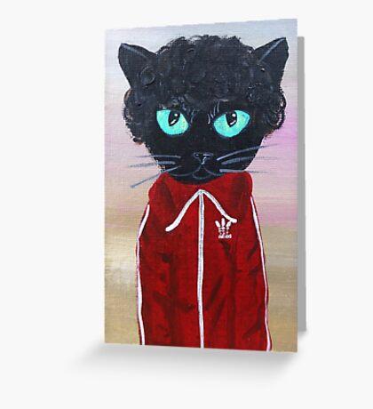 Chas Tenenbaum Black Cat Adidas  Greeting Card