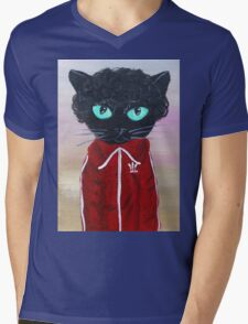 Chas Tenenbaum Black Cat Adidas  Mens V-Neck T-Shirt