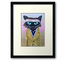 Anderson Tenebaum black cat Framed Print